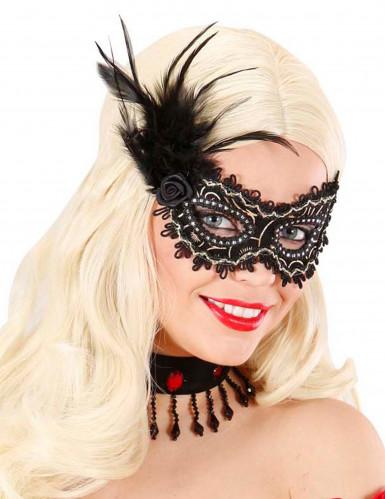 Zwart en goudkleurig halfmasker met pluimen voor volwassenen