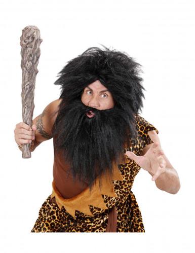 Zwarte pruik met baard voor volwassenen-2
