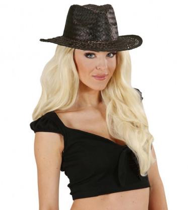 Zwarte cowboyhoed van stro voor volwassenen