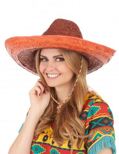 Oranje Mexicaanse sombrero voor volwassenen-2