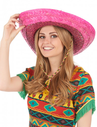 Roze Mexicaanse sombrero voor volwassenen-2