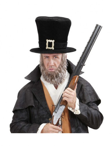 Hoge hoed met baard voor volwassenen