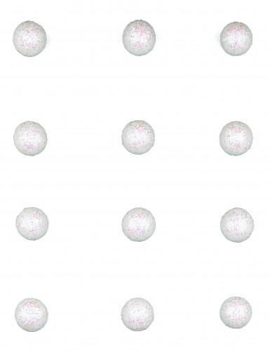 12 witte glitterballen