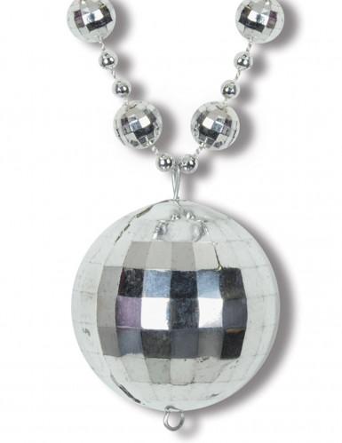 Zilverkleurige disco bol ketting-1