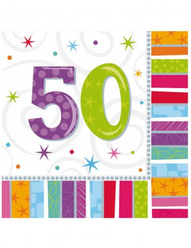 16 papieren servetten 50 jaar 33 x 33 cm