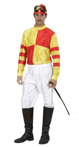 Geel en rood jockeykostuum voor volwassenen