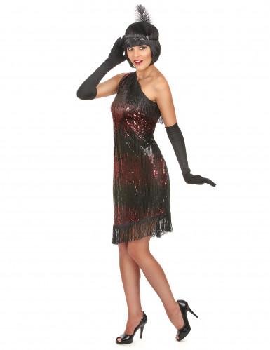 Zwart-rood Charleston kostuum voor dames-1