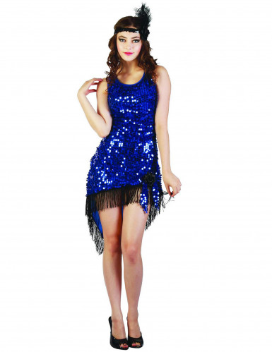 Blauwe Charleston kostuum voor vrouwen