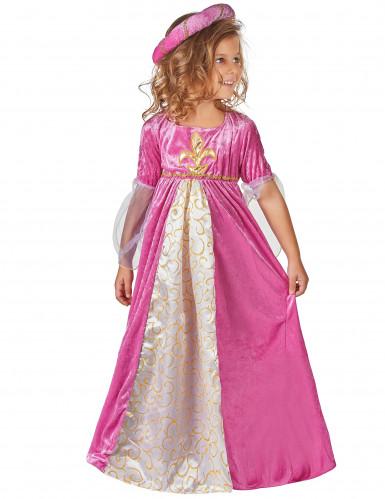 Roze middeleeuwse fleur de lis prinses kostuum voor meisjes