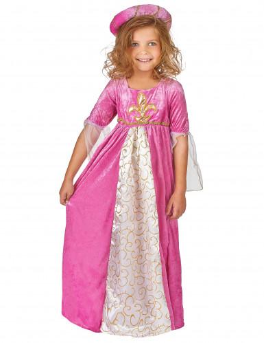Roze middeleeuwse fleur de lis prinses kostuum voor meisjes-1
