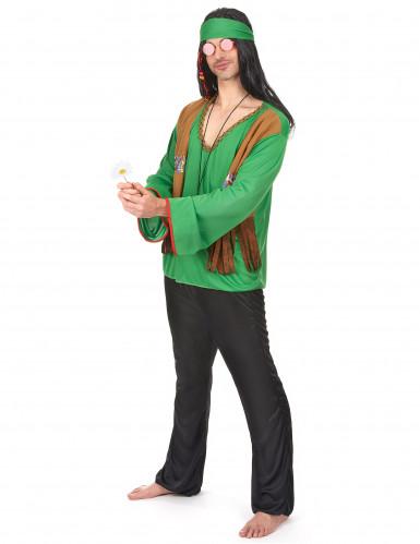 Groen flower power hippie pak voor heren-1