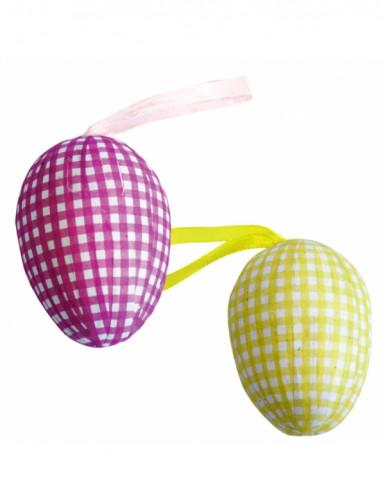 6 roze en gele decoratie eieren voor pasen