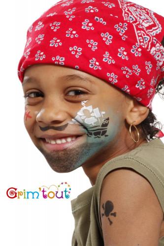 Herbruikbaar schminkstencil piraat en ridder - Grim' Tout-1