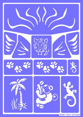Herbruikbaar schminkstencil jungledieren - Grim' Tout
