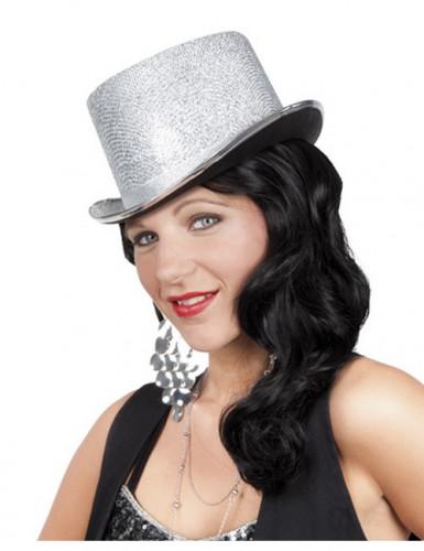 Glinsterende zilverkleurige hoge hoed voor volwassenen