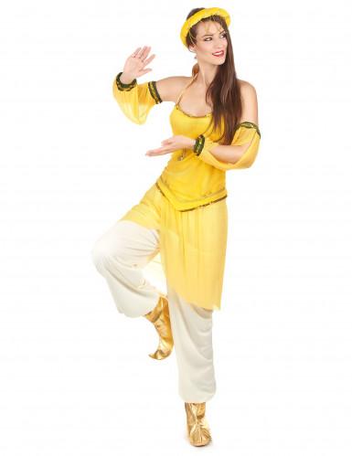 Gele Oosterse danseres kostuum voor vrouwen