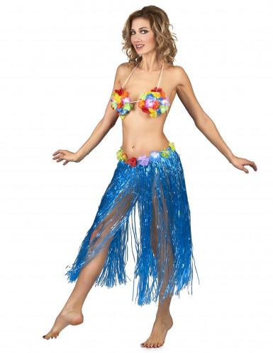 Lange blauwe Hawaiaanse rok voor vrouwen-1