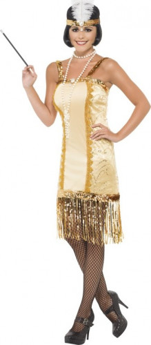 Goudkleurig jaren 20 kostuum voor dames