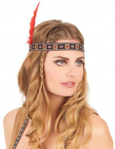 Indiaanse hoofdband met veer-1