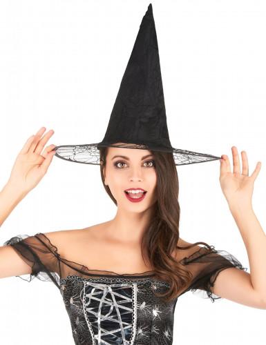 Zwarte heksen hoed met spinnenweb voor volwassenen Halloween-1