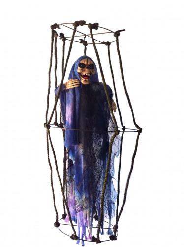 Skelet in lichtgevende kooi Halloween hangversiering