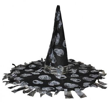 Zwarte en grijze heksenhoed voor volwassenen