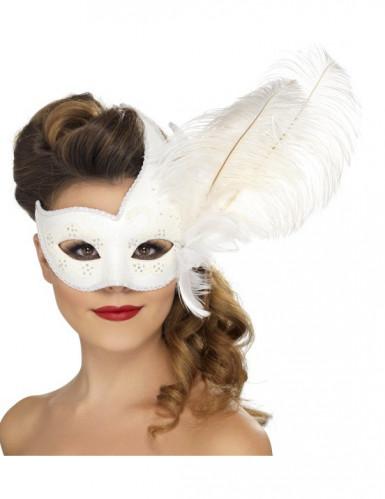 Witte Venetiaanse masker met veer voor volwassenen