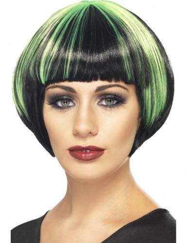 Groene en zwarte pruik voor vrouwen