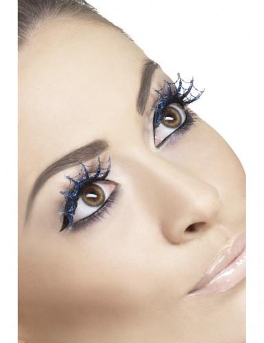 Vakse lange blauwe wimpers in spinneweb voor volwassenen