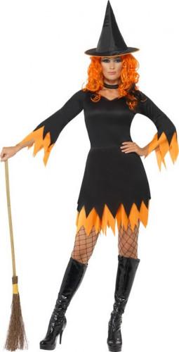 Oranje en zwart heksen kostuum voor dames