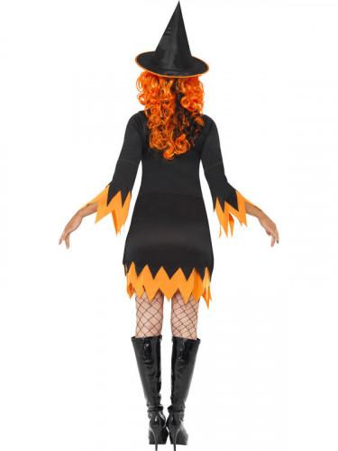 Oranje en zwart heksen kostuum voor dames-2
