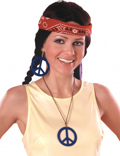 Roze ketting en oorbellen van hippie
