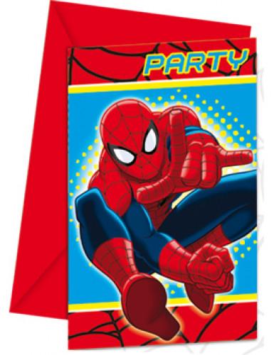 Set 6 Spiderman™ uitnodigingen
