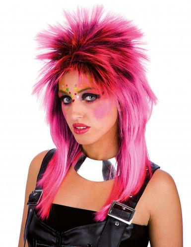 Roze punk pruik