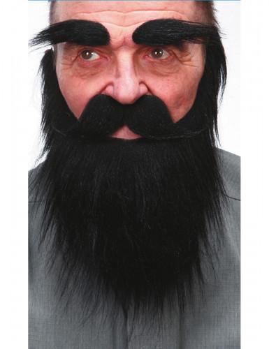 Zwarte baard, wenkbrauwen en snor voor volwassenen