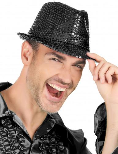 Zwarte glitter hoed voor volwassen-1