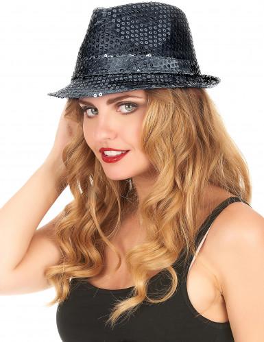 Zwarte glitter hoed voor volwassen-2