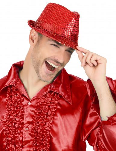 Rode lovertjes hoed voor volwassenen-1