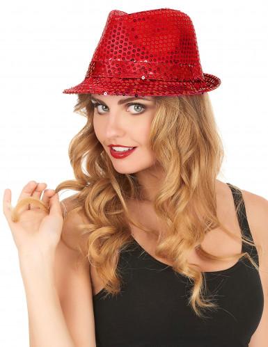 Rode lovertjes hoed voor volwassenen-2