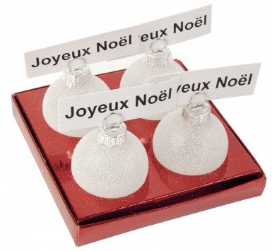 4 kerstballen naamplaatjes