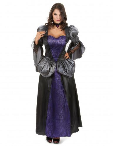 Zwart met paarse vampier jurk voor dames