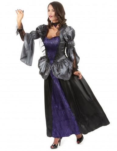 Zwart met paarse vampier jurk voor dames-1