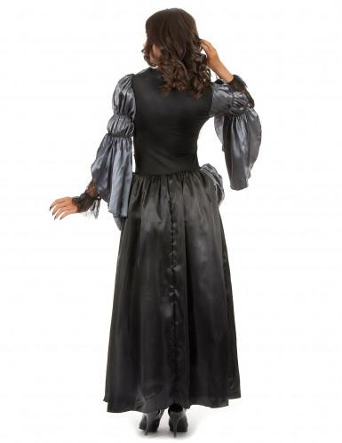 Zwart met paarse vampier jurk voor dames-2
