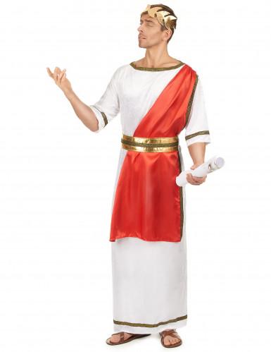 Klassiek wit met rood Romeinse keizer toga kostuum voor mannen-1