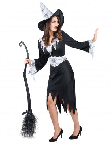 Zwart met wit heksen kostuum voor vrouwen-1