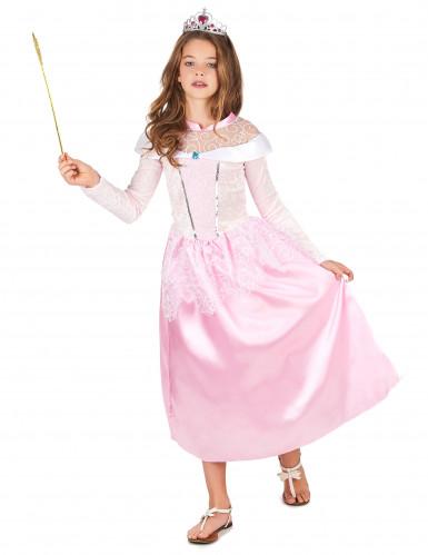 Roze prinsessen kostuum met zilverkleurige tiara voor meisjes