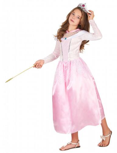 Roze prinsessen kostuum met zilverkleurige tiara voor meisjes-1