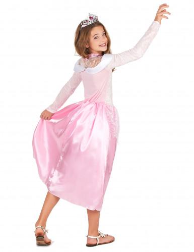 Roze prinsessen kostuum met zilverkleurige tiara voor meisjes-2