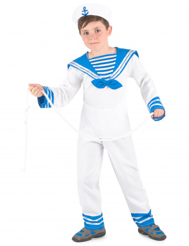 Blauw-wit matrozen kostuum voor jongens -1
