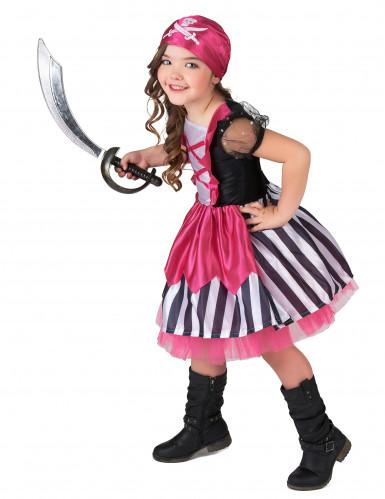 Roze doodskop piraten kostuum voor meisjes-1